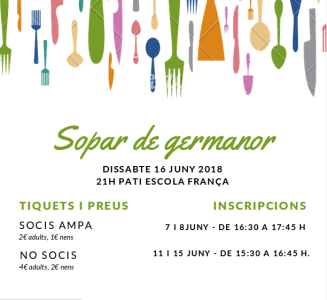 Sopar de germanor AMPA Escola França 2018